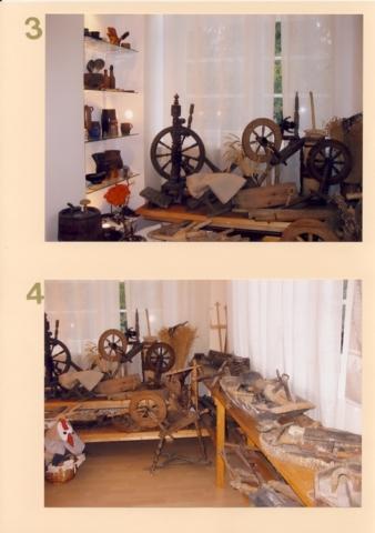 3. Indai, verpimo rateliai, buities reikmenys; 4. Įvairūs įrankiai (darbui su linais, staliaus darbui; batsiuviui...)